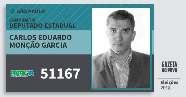 Santinho Carlos Eduardo Monção Garcia 51167 (PATRI) Deputado Estadual | São Paulo | Eleições 2018