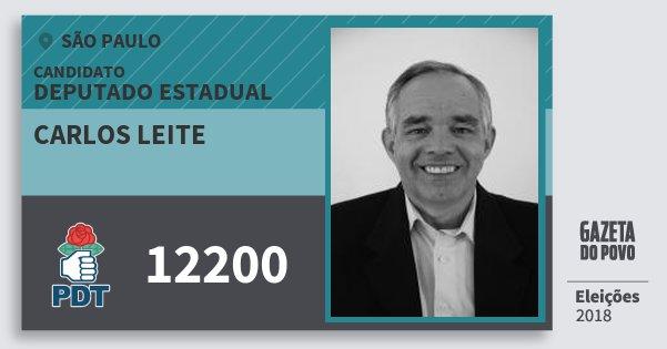 Santinho Carlos Leite 12200 (PDT) Deputado Estadual | São Paulo | Eleições 2018