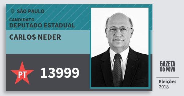 Santinho Carlos Neder 13999 (PT) Deputado Estadual | São Paulo | Eleições 2018