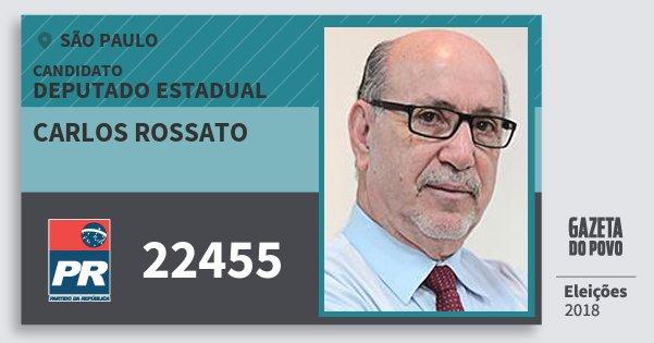Santinho Carlos Rossato 22455 (PR) Deputado Estadual | São Paulo | Eleições 2018