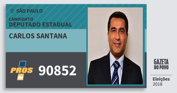 Santinho Carlos Santana 90852 (PROS) Deputado Estadual | São Paulo | Eleições 2018