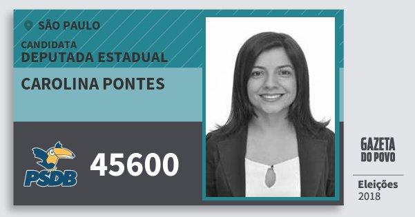 Santinho Carolina Pontes 45600 (PSDB) Deputada Estadual | São Paulo | Eleições 2018