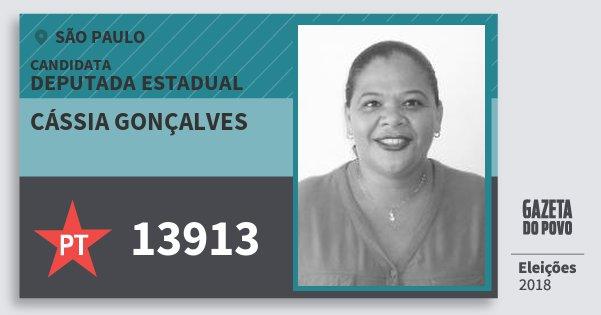 Santinho Cássia Gonçalves 13913 (PT) Deputada Estadual | São Paulo | Eleições 2018