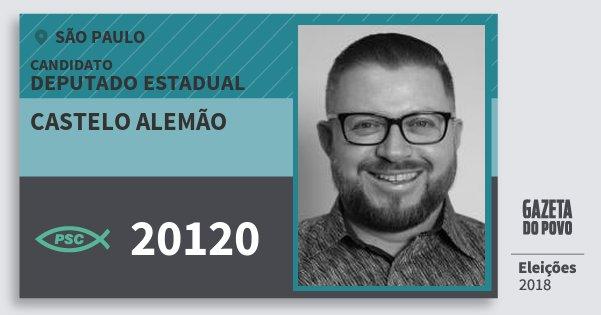 Santinho Castelo Alemão 20120 (PSC) Deputado Estadual | São Paulo | Eleições 2018