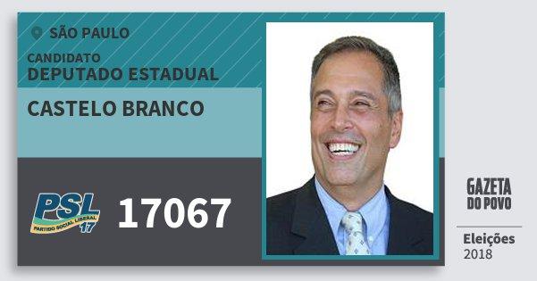 Santinho Castelo Branco 17067 (PSL) Deputado Estadual | São Paulo | Eleições 2018