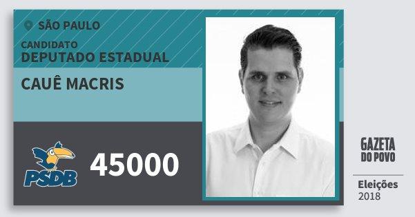 Santinho Cauê Macris 45000 (PSDB) Deputado Estadual | São Paulo | Eleições 2018