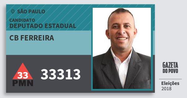 Santinho Cb Ferreira 33313 (PMN) Deputado Estadual | São Paulo | Eleições 2018