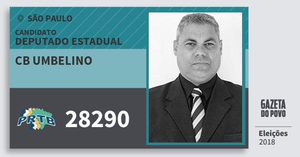 Santinho Cb Umbelino 28290 (PRTB) Deputado Estadual | São Paulo | Eleições 2018