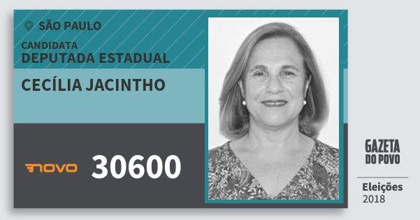 Santinho Cecília Jacintho 30600 (NOVO) Deputada Estadual | São Paulo | Eleições 2018