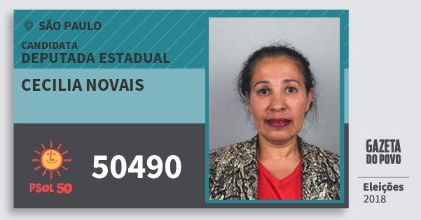 Santinho Cecilia Novais 50490 (PSOL) Deputada Estadual   São Paulo   Eleições 2018