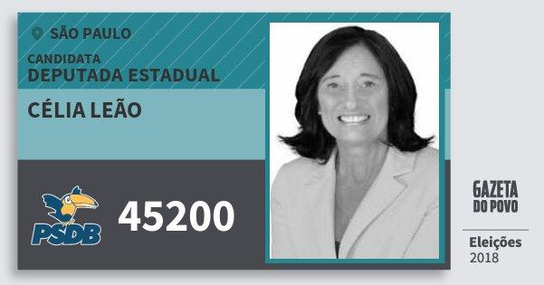 Santinho Célia Leão 45200 (PSDB) Deputada Estadual | São Paulo | Eleições 2018