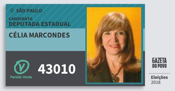 Santinho Célia Marcondes 43010 (PV) Deputada Estadual | São Paulo | Eleições 2018