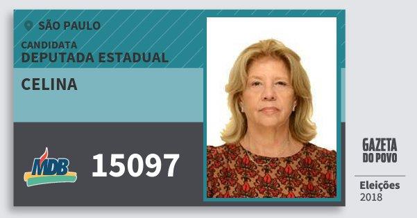 Santinho Celina 15097 (MDB) Deputada Estadual | São Paulo | Eleições 2018