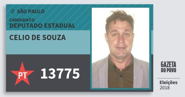 Santinho Celio de Souza 13775 (PT) Deputado Estadual | São Paulo | Eleições 2018