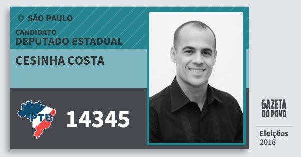 Santinho Cesinha Costa 14345 (PTB) Deputado Estadual | São Paulo | Eleições 2018