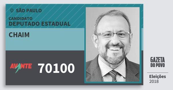 Santinho Chaim 70100 (AVANTE) Deputado Estadual | São Paulo | Eleições 2018