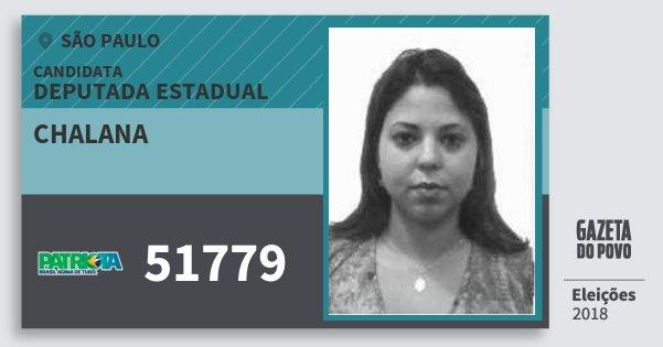 Santinho Chalana 51779 (PATRI) Deputada Estadual | São Paulo | Eleições 2018
