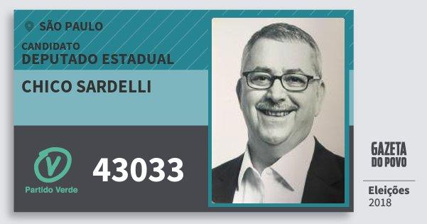 Santinho Chico Sardelli 43033 (PV) Deputado Estadual | São Paulo | Eleições 2018