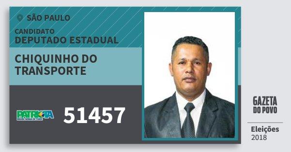 Santinho Chiquinho do Transporte 51457 (PATRI) Deputado Estadual | São Paulo | Eleições 2018