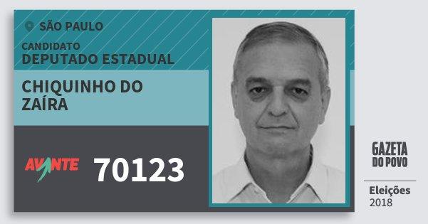 Santinho Chiquinho do Zaíra 70123 (AVANTE) Deputado Estadual | São Paulo | Eleições 2018