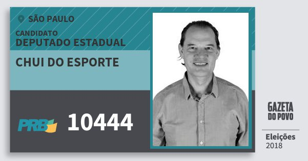 Santinho Chui do Esporte 10444 (PRB) Deputado Estadual | São Paulo | Eleições 2018