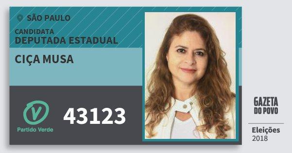 Santinho Ciça Musa 43123 (PV) Deputada Estadual | São Paulo | Eleições 2018