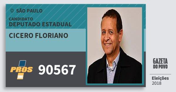 Santinho Cicero Floriano 90567 (PROS) Deputado Estadual | São Paulo | Eleições 2018