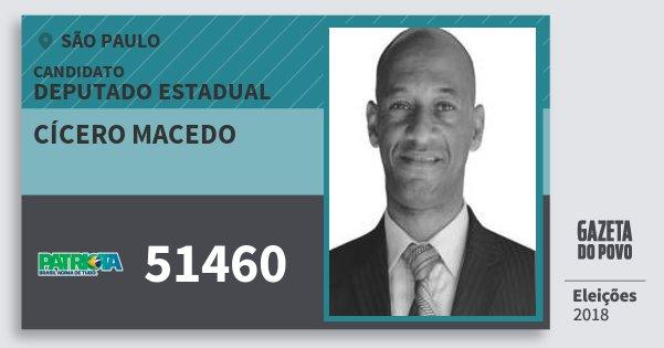 Santinho Cícero Macedo 51460 (PATRI) Deputado Estadual | São Paulo | Eleições 2018