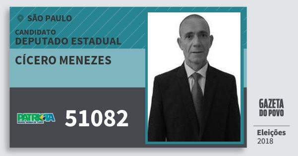 Santinho Cícero Menezes 51082 (PATRI) Deputado Estadual | São Paulo | Eleições 2018