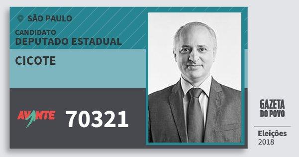 Santinho Cicote 70321 (AVANTE) Deputado Estadual | São Paulo | Eleições 2018