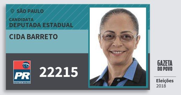 Santinho Cida Barreto 22215 (PR) Deputada Estadual | São Paulo | Eleições 2018