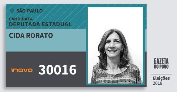 Santinho Cida Rorato 30016 (NOVO) Deputada Estadual | São Paulo | Eleições 2018
