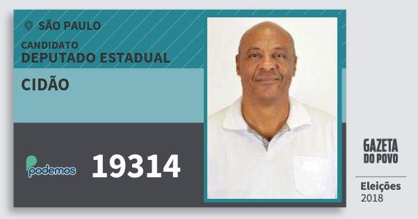 Santinho Cidão 19314 (PODE) Deputado Estadual | São Paulo | Eleições 2018