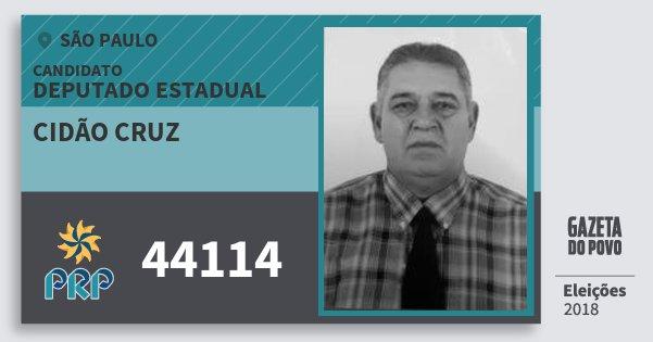 Santinho Cidão Cruz 44114 (PRP) Deputado Estadual | São Paulo | Eleições 2018