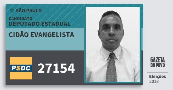Santinho Cidão Evangelista 27154 (DC) Deputado Estadual | São Paulo | Eleições 2018