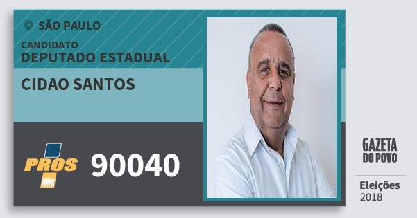 Santinho Cidao Santos 90040 (PROS) Deputado Estadual | São Paulo | Eleições 2018