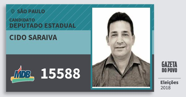 Santinho Cido Saraiva 15588 (MDB) Deputado Estadual | São Paulo | Eleições 2018