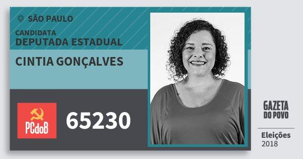Santinho Cintia Gonçalves 65230 (PC do B) Deputada Estadual | São Paulo | Eleições 2018