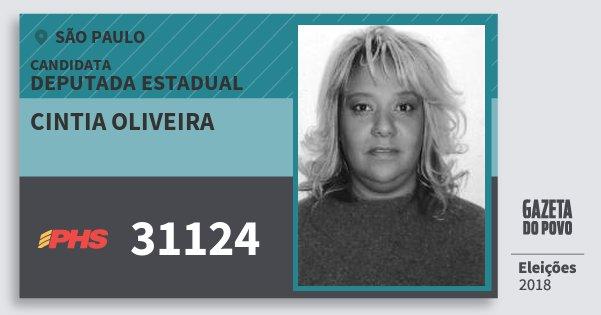 Santinho Cintia Oliveira 31124 (PHS) Deputada Estadual | São Paulo | Eleições 2018