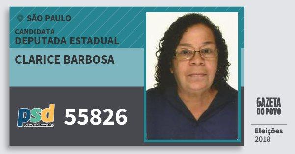 Santinho Clarice Barbosa 55826 (PSD) Deputada Estadual | São Paulo | Eleições 2018