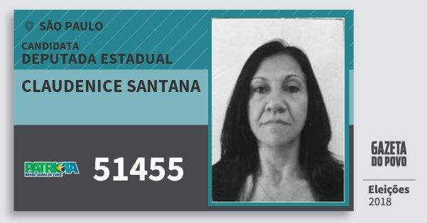 Santinho Claudenice Santana 51455 (PATRI) Deputada Estadual | São Paulo | Eleições 2018