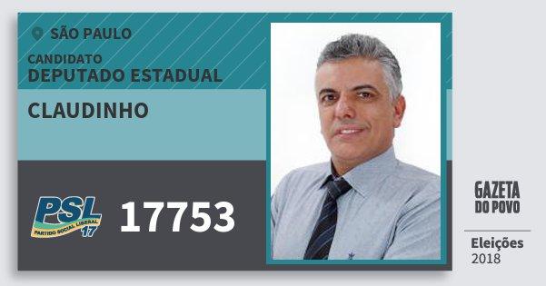 Santinho Claudinho 17753 (PSL) Deputado Estadual | São Paulo | Eleições 2018
