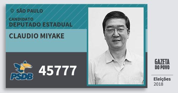 Santinho Claudio Miyake 45777 (PSDB) Deputado Estadual | São Paulo | Eleições 2018