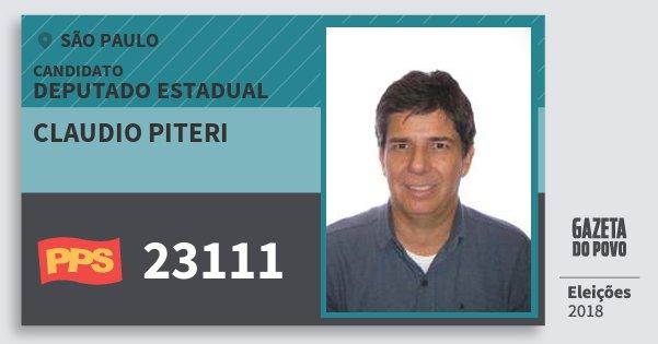 Santinho Claudio Piteri 23111 (PPS) Deputado Estadual | São Paulo | Eleições 2018