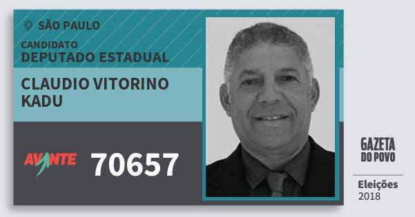 Santinho Claudio Vitorino Kadu 70657 (AVANTE) Deputado Estadual | São Paulo | Eleições 2018