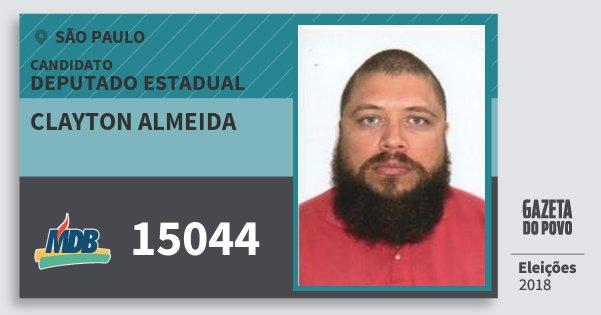 Santinho Clayton Almeida 15044 (MDB) Deputado Estadual | São Paulo | Eleições 2018