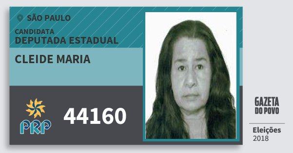 Santinho Cleide Maria 44160 (PRP) Deputada Estadual | São Paulo | Eleições 2018