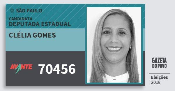 Santinho Clélia Gomes 70456 (AVANTE) Deputada Estadual | São Paulo | Eleições 2018