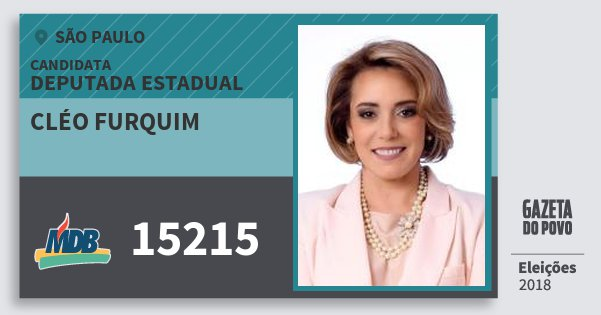 Santinho Cléo Furquim 15215 (MDB) Deputada Estadual | São Paulo | Eleições 2018