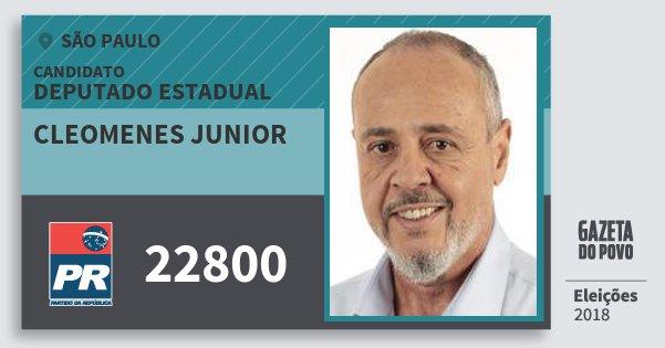 Santinho Cleomenes Junior 22800 (PR) Deputado Estadual | São Paulo | Eleições 2018